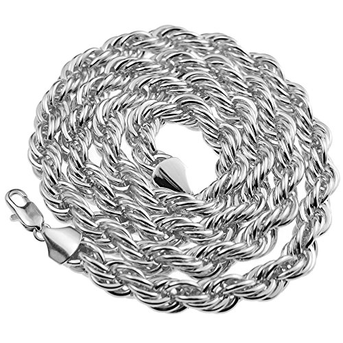 Rope Chain 10mm Thick 30 inch Long Silver Platinum Tone Twisted Heavy Dookie Hip Hop Necklace