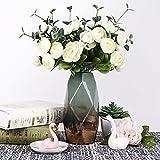 Teresa's Collections Grüne Golde Vase Keramik Vase Kleine Blumenvase Moderne Farbe Tischvase Blumen Pflanzen Vase Keramikvase Deko Garten Dekoration Höhe