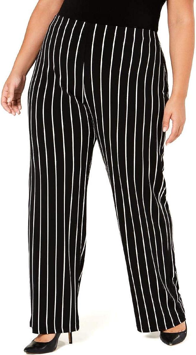 Alfani Womens Plus Striped Pull On Wide Leg Pants