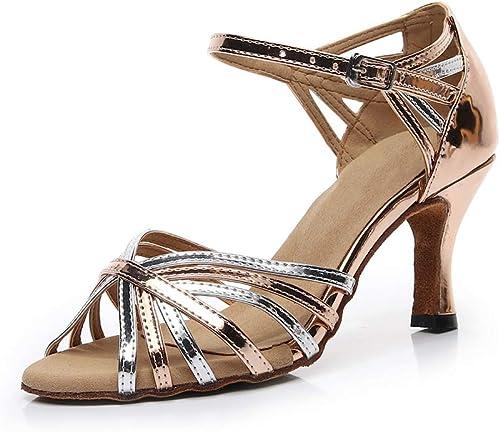 ZXYYUE Cuir PU Femmes Chaussures de Danse Latine Poisson Bouche Mi Milieu Haute Talon
