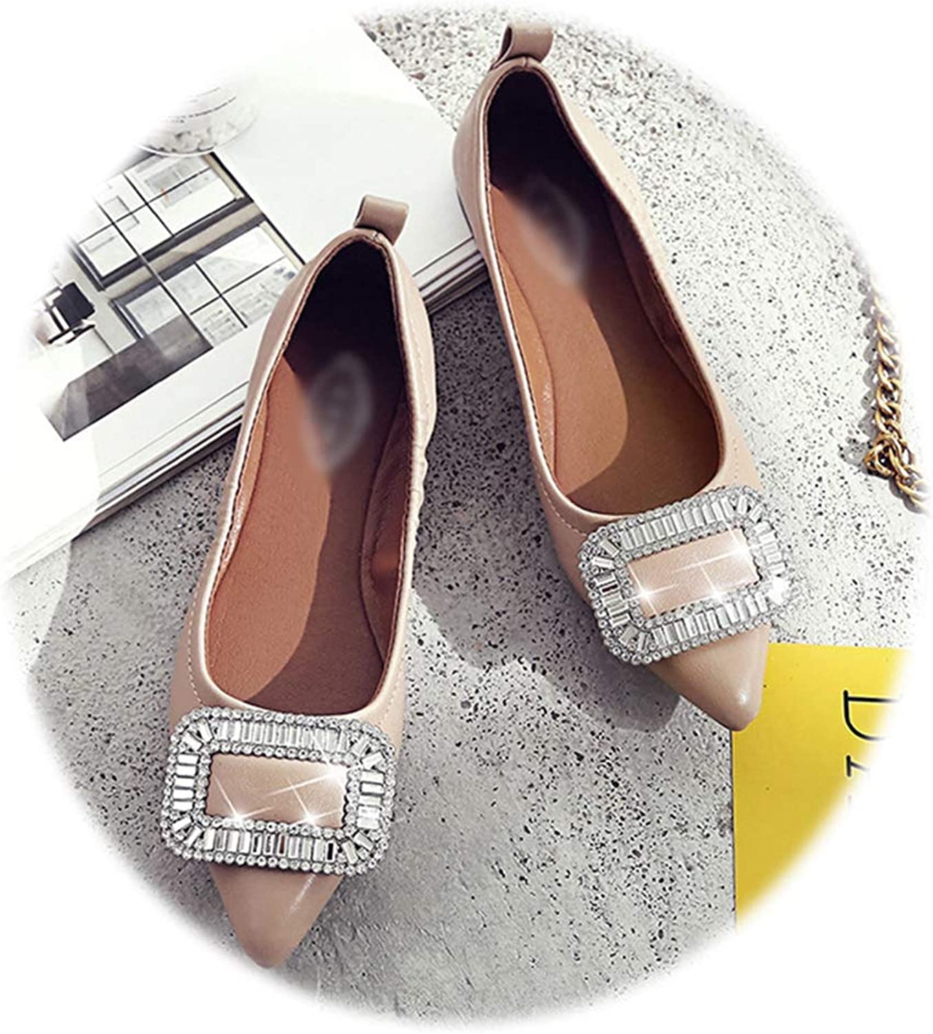 Women's Flats,Stylish Rhinestone Classic Casual Pointed-Toe Dress shoes
