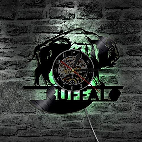 UIOLK Buffalo led Reloj de Vinilo lámpara de Pared Cambio de Color retroiluminación Vintage lámpara de decoración de Regalo Control Remoto