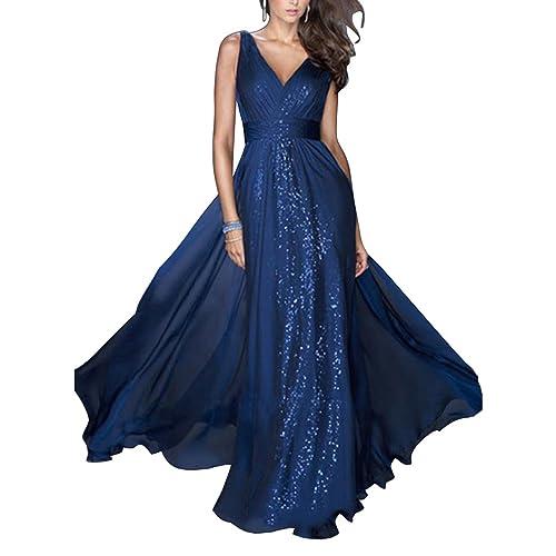 4be0985c8033 ZongSen Vestito Lungo Donna Scollo V Elegante Cocktail Bohemian Senza  Maniche Maxi Abito da Sera Blu