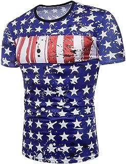 Mens Tops 3D Printing Tees Shirt Short Sleeve T-Shirt USA Blouse July 4th Loose Tops