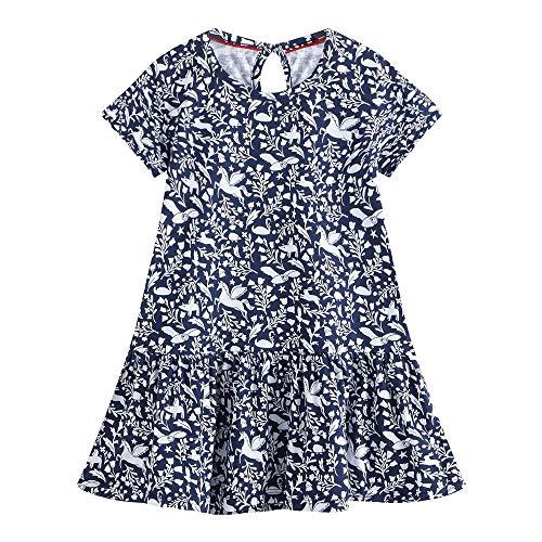 Eendelige kinderjurk klein meisje bloemenprint casual katoen T-shirt jurk baby meisje korte mouwen lentezomer losse etui jurk prinses nachthemd nachthemd nachthemd