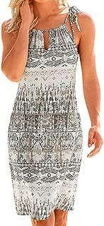 Toimothcn Womens Plus Size Sling Beach Sundress Casual Spaghetti Strap Floral Printed Swing Dress FBA