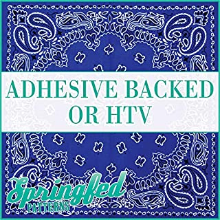 Royal Blue BANDANA Pattern Heat Transfer or Adhesive Vinyl CHOOSE YOUR SIZE! Bandanna