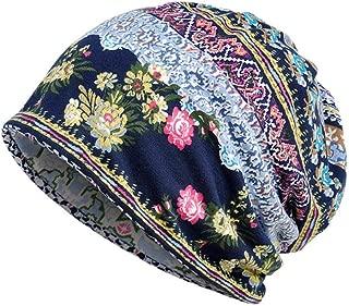 WILLTOO Unisex Winter Print Cap Turban Beanie Slouchy Snapback Cancer Headwear Scarf Collar Hat (Blue)