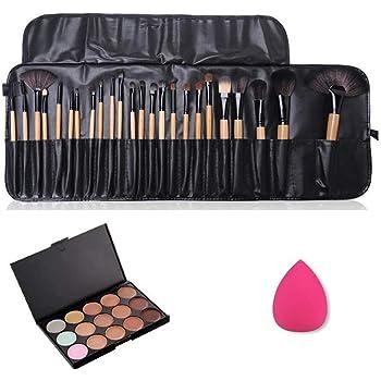 JasCherry 24 Pcs brochas de maquillaje + 1 Esponja Fundación Puff + 15 Colores Corrector Camuflaje Paleta de Maquillaje Cosmética Crema - Perfecto para Sso Profesional y Diario: Amazon.es: Belleza