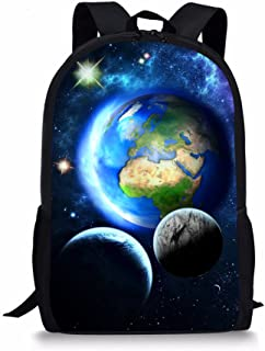 "Galaxy School Bag for Boys Girl Cool Backpack Teens Children 16"" Black Book Bag"