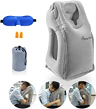 SmartDer Inflatable Travel Pillow, Airplane Pillow, Neck Pillow for Airplane Travel, Travel Pillows for Airplanes & Office Napping with Head & Neck Support (Grey)