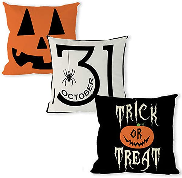 ToLanbbt Trick Or Treat Pumpkin Halloween Throw Pillow Covers Set Cotton Linen Decorative Square Cushion Case Fits For Sofa Bedroom Car Home Decor Pack Of 3 18 18