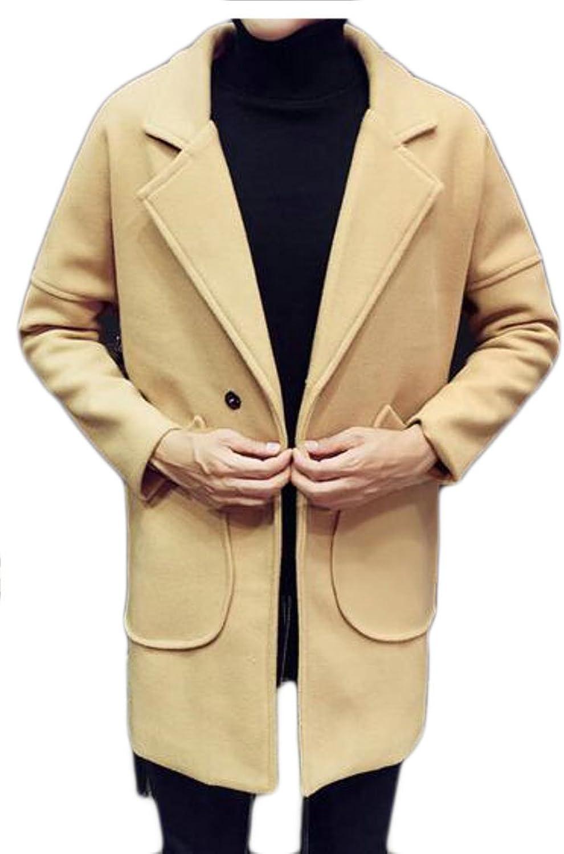 7131909fb FLCH+YIGE Mens Lapel Long Long Long Sleeve One Button Wool Blend ...