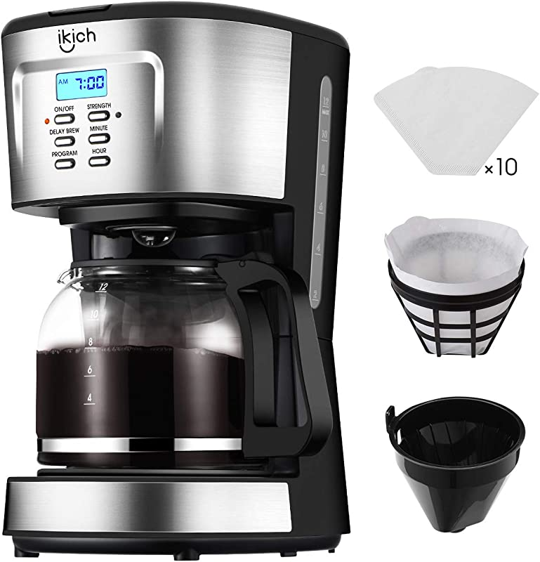 Drip Coffee Machine IKICH 12 Cup Coffee Maker 24h Programmable Smart Drip Coffeemaker Coffee Brewer With Glass Thermal Carafe Permanent Filter And Stainless Steel Decoration For Home And Office
