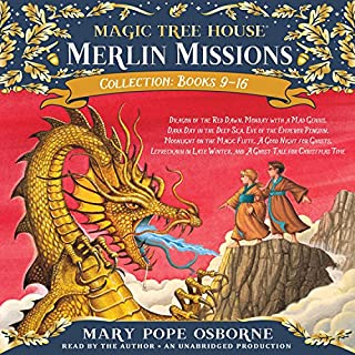 Merlin Mission Collection     Books 9-16              Written by:                                                                                                                                 Mary Pope Osborne                               Narrated by:                                                                                                                                 Mary Pope Osborne                      Length: 10 hrs and 56 mins     2 ratings     Overall 3.5