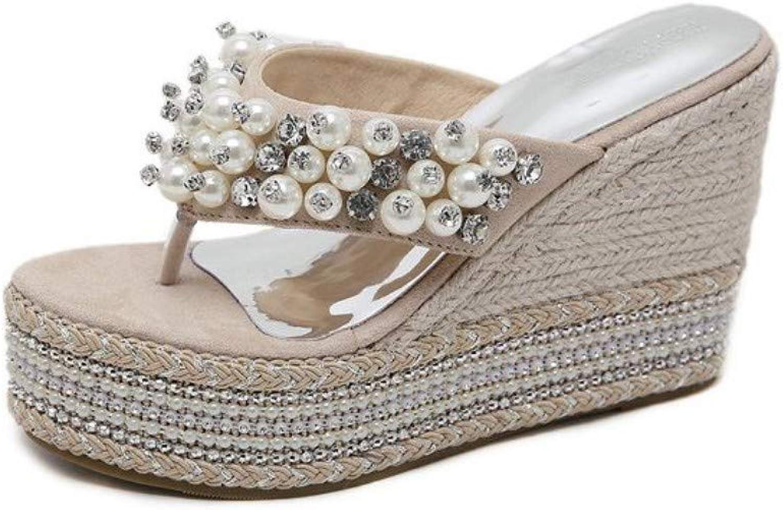 JQfashion Women's High Heels Thick Soles Flip-Flops Sandals Pearl Diamonds