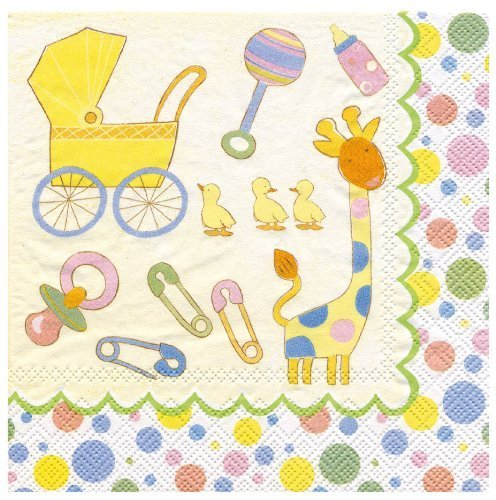 Ideal Home Range 20 Count Paper Luncheon Napkins, Oh Baby by Ideal Home Range