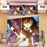 FUYUNDA Sword Art Online Series/Juego de Funda nórdica de Anime de 3 Piezas/Ropa de Cama de 3 Piezas/Suave y Transpirable/con Funda de Almohada, Funda nórdica (sin edredón) / Adecuado para Nav