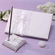 KateMelon Satin and Embroidery Organza Wedding Guest Book and Pen Set