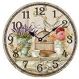 HUABEI 30 cm Reloj de pared de madera silencioso estilo vintage decoración de pared para casa naranja