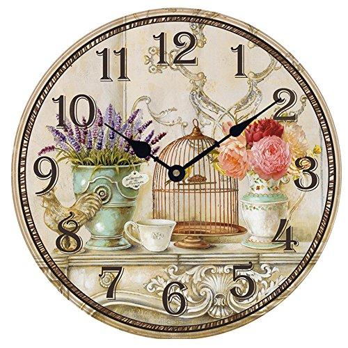 HUABEI 30 CM Horloge Pendule Murale Silencieuse Style Vintage Lavande Vase Cage Décorative pour Salon, Bureau, Cuisine, Chambre, Bar, Café