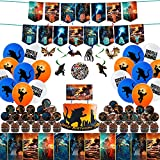 Birthday Party Supplies for Monster King Kong with Cake Topper Cupcake Toppers, Balloons, Banner, Stickers, Tablecloth,Hanging Swirls