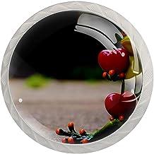 Lade knop Pull handvat 4 stuks Crystal Glass Cabinet lade trekt kast knoppen, twee kikkers hart