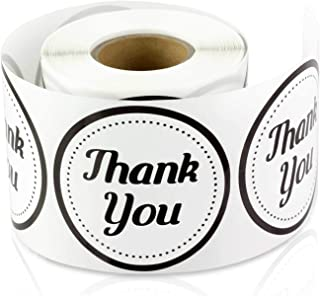 2 Inch Round - Thank You Gift Decorative Envelope Sealing Lables Stickers by Tuco Deals (Black/White, 2 Rolls Per Pack)