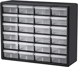 Akro-Mils 10124 24 Drawer Plastic Parts Storage Hardware and Craft Cabinet, 20-Inch x 16-Inch x 6.5-Inch, Black, Gray case...