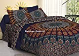 GANESHAM Indian Hippie Gypsy Home Decor Bohemian Tapestry Bedspread Boho 100% Cotton Reversible Ethnic Mandala Queen Size Duvet Cover Set (92x88 inch)