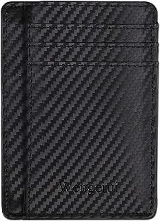 Fibre de carbone Wengerui Portefeuilles RFID Poche Avant pour Homme-Blocage RFID en cuir v/éritable minimaliste
