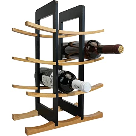 Tabletop Wine Rack, HAIPUSEN 4 Tier Bamboo 12 Bottles Storage Holder, Removable Assembly Countertop Wine Organizer