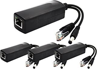 ANVISION 4-Pack 12V DC Output Active PoE Splitter Adapter IEEE 802.3af 10/100Mbps, for IP Camera Wireless AP Router Voip Phone AV-PS12