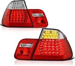 VIPMOTOZ M3 Style Red Lens Chrome Housing LED Tail Light Lamp Assembly For 2003-2006 BMW E46 LCI 3-Series Coupe, Driver & Passenger Side