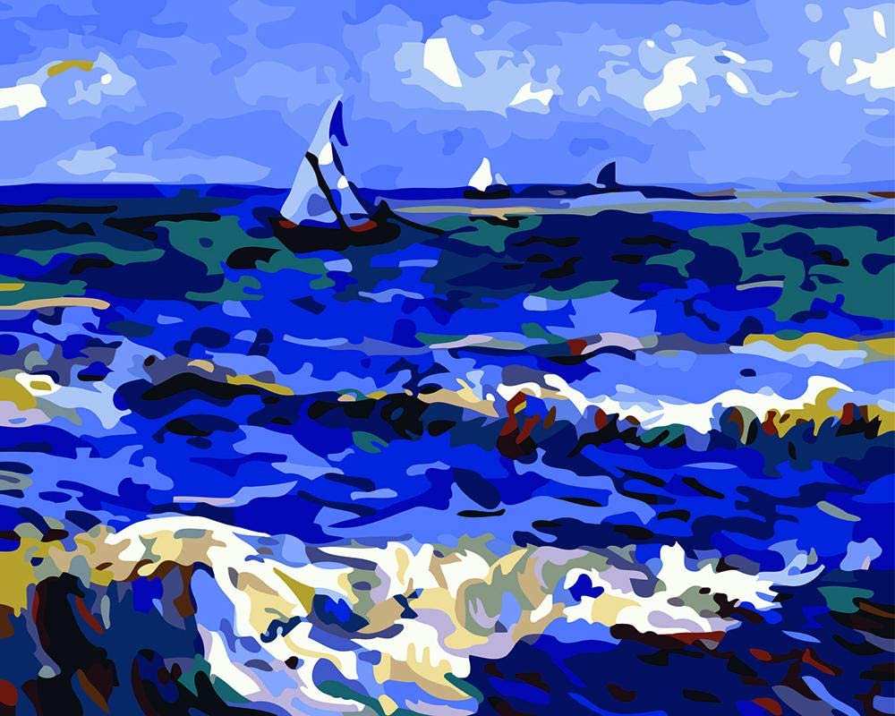 HRKDHBS DIY Oil Paint by Number Sea 40X50Cm Kit with Boat Dallas Mall Frame Austin Mall