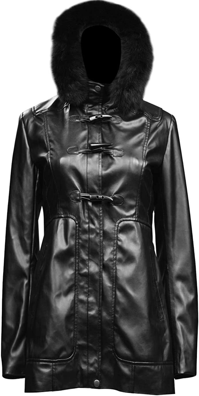 The Smart Sale Sheeny Womens Faux Fur Hooded Long Coat Leather Jacket - Real Leather Jacket