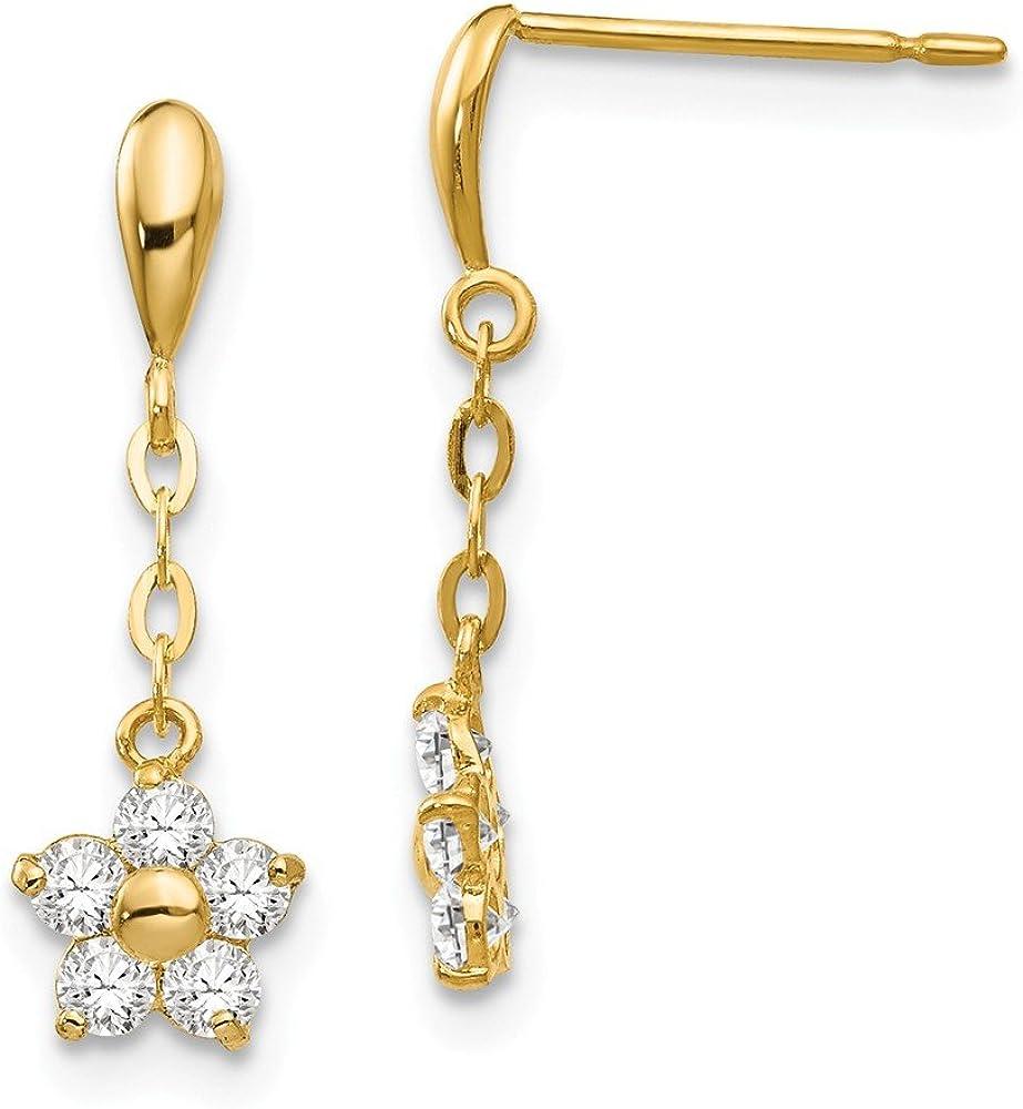 14k Yellow Gold Cubic Zirconia Cz Childrens Flower Drop Dangle Chandelier Post Stud Earrings Gardening Fine Jewelry For Women Gifts For Her