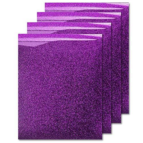 MiPremium Glitter Lavender Heat Transfer Vinyl, Glitter Iron On Vinyl (Pack of 4 Sheets), for T Shirts Sports Clothing Other Garments & Fabrics, Easy Cut & Press Lavender Glitter Vinyl (Lavender)