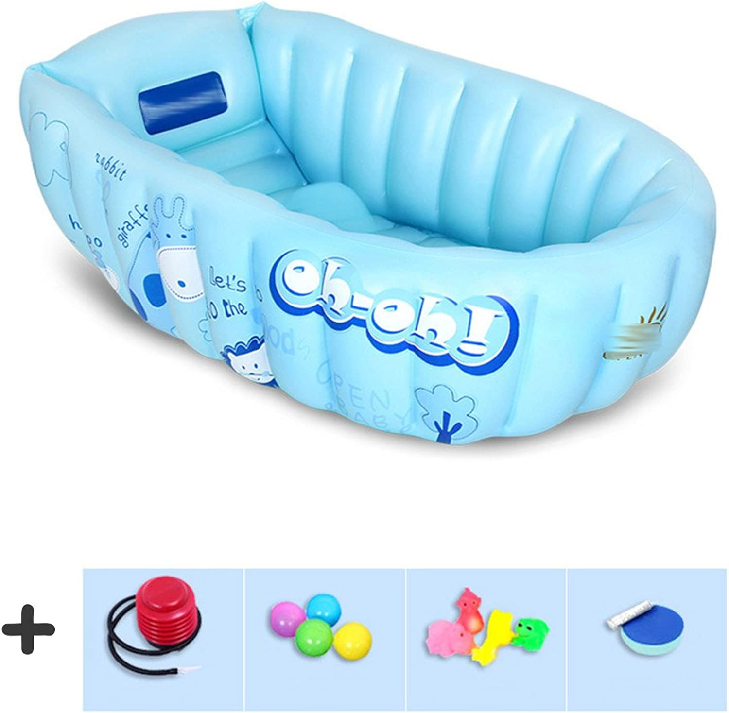 Baby Bath tub Inflated Insulation large Thickening Can sit down fold Bathtubs (color   bluee-B)