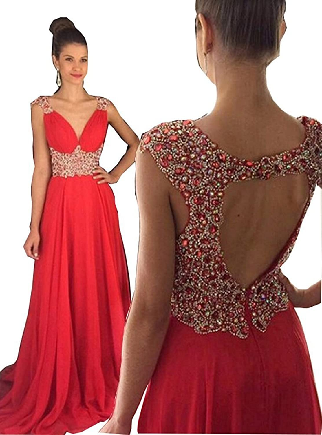 Changjie Women's Backless Beading Prom Dress 2017 Long Formal Evening Party Gown