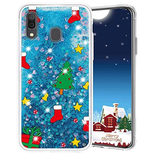 Misstars Weihnachten Handyhülle für Galaxy A40, 3D Kreativ Glitzer Flüssig Transparent Weich Silikon TPU Bumper mit Weihnachtsbaum Muster Design Anti-kratzt Schutzhülle für Samsung Galaxy A40