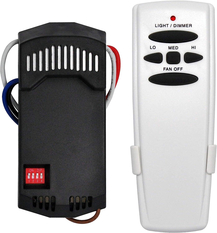 Universal Ceiling Fan Remote Control and Receiver Kit, Replacement for Hampton Bay, Hunter, Harbor Breeze, 3-Speed, Light Dimmer, FAN28R Fan-HD L3H2010FANHD RR7079T CHQ7078T UC7078T Fan-HD5 Kit