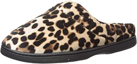 Dearfoams Women's Microfiber Velour Clog with Quilted Cuff Slipper,