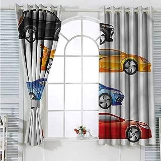 Boys Room Grommet Creative Blackout Curtains Automobiles Rally Suitable for Bedroom Patio Sliding Door Cartoon Printed Nursery Room Boys Girls Bedroom Kids Room Living Room Dorm 72x72