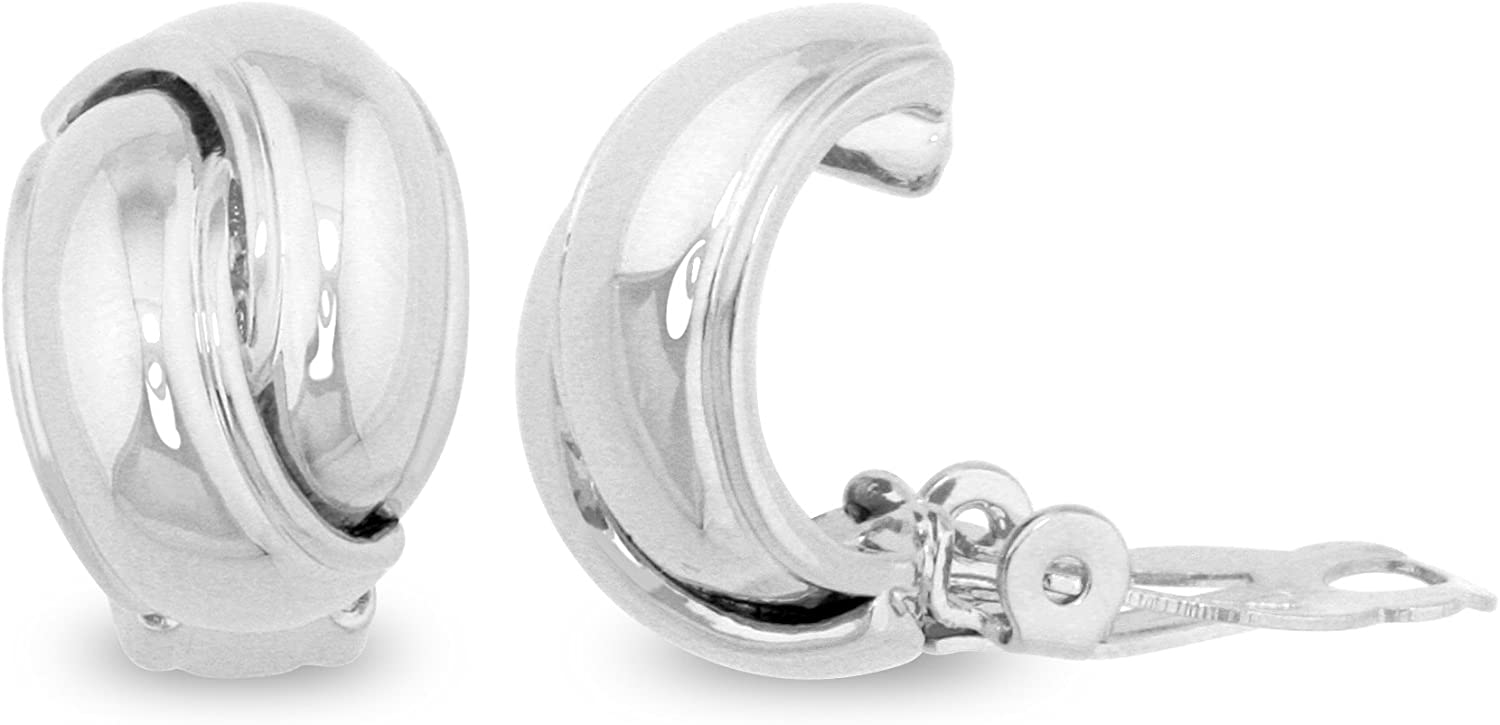 JanKuo Jewelry Rhodium Plated Shining Polished Finish Knot Clip On Earrings