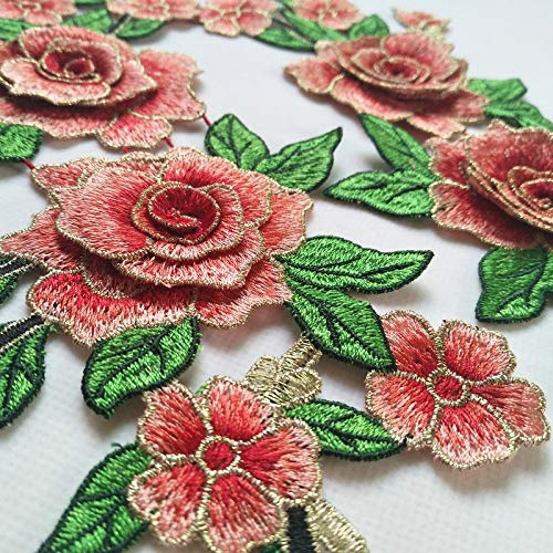 One Pair Embroidery Rose Flower Sew On Patch Dress Hat Bag Jeans Applique Crafts Clothing Accessories (Color H)