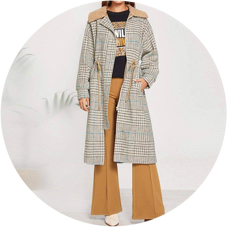 Summerlavender Fleece Collar Plaid Coat Sleeve Pocket Outerwear Women Elegant Trench Coat