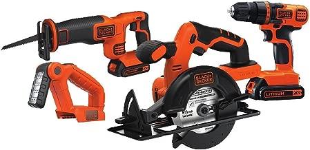 Black & Decker BD4KITCDCRL 20V MAX Drill/Driver Circular and Reciprocating Saw Worklight Combo Kit (Renewed)
