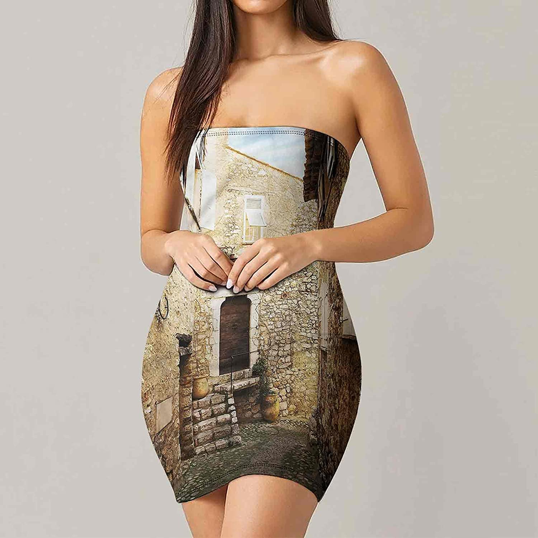 SUZM Women's Strapless Bodycon Club Dress Medieval Ancient Human Dresses