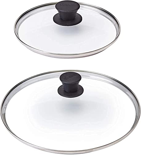 """2021 Glass Lids - 8""""-inch/20.32cm + 10""""-inch/25.4-cm - Compatible high quality with Lodge - Tempered Replacement Cover - Oven Safe for high quality Skillet Pots Pans - Universal for all Cookware: Cast Iron, Stainless Steel outlet sale"""